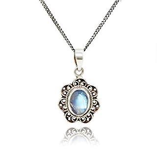 Luna Azure Edelstein Mondstein Retro Stil Sterling Silber Halskette 40,6cm-18