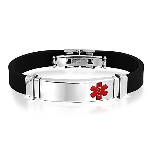 Bling Jewelry In gomma nera da uomo Acciaio Inox Medical Alert ID bracciale