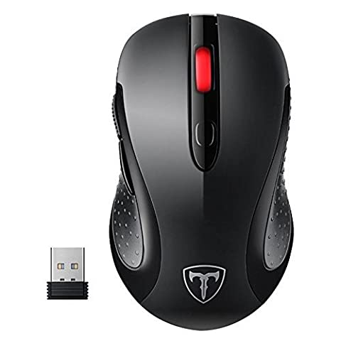 2.4G Wireless Mouse, Patuoxun Wireless Optical Laptop PC Computer Mouse Cordless Mice with USB Nano Receiver, 6 Buttons, 5 Adjustable DPI Levels, 15 Months Battery Life, Black