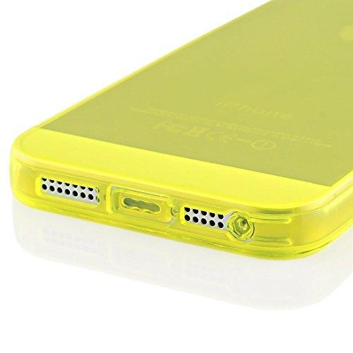 iPhone 5 5S SE Hülle Handyhülle von NICA, Ultra-Slim Silikon Case Cover Schutzhülle Dünn Durchsichtig, Handy-Tasche Backcover Transparent Bumper für Apple iPhone SE 5S 5 - Rot Transparent Gelb Transparent