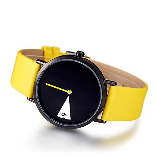 SW Watches SK Frauen Kleiden Uhren Mode Einzigartige Dial Damen Quarz Uhr Gelbes Leder Casual Band Casual Armband Armbanduhr,Yellow