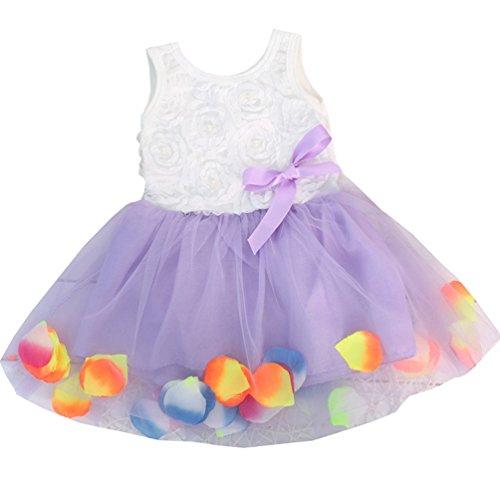 Lymanchi Baby Mädchen Kleid Ärmellos Blütenblätter Bowknot Tutu Prinzessin Kleid, Lila, 8/6 Monat
