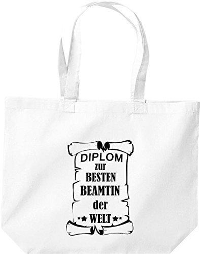 Shirtstown große Einkaufstasche, Diplom zur besten Beamtin der Welt, Weiß