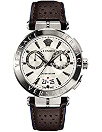 Versace Men's 'AION CHRONO' Quartz Stainless Steel and Leather Casual Watch, Color:Black (Model: VBR010017)