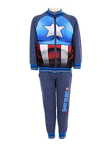 Marvel avengers captain america -  tuta da ginnastica - ragazzo blue 7 anni