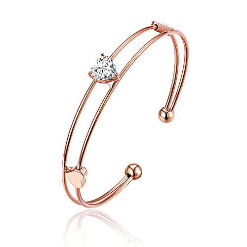 Beydodo Vergoldet Armband für Damen Doppel Herzen Rosegold Armband Länge 17CM 17 Ipod