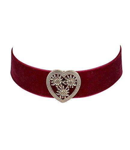 SIX Oktoberfest - Kurze Damen Halskette, Choker aus rotem Samt-Stoff, goldenes Herz mit Edelweiß-Muster (730-508)
