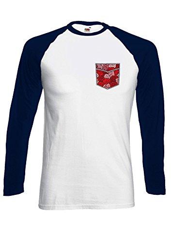Floral Rose Drawing Pattern in Pocket Novelty Black/White Men Women Damen Herren Langarm Unisex Baseball T Shirt Verschiedene Farben *Navy Blau