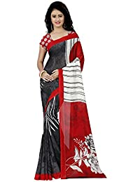 Kashvi Sarees Faux Georgette Printed Red Color & Multicolor With Blouse Piece (1261 )