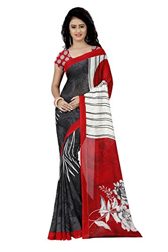 Anand Sarees Faux Georgette Printed Red Color & Multicolor With blouse piece...
