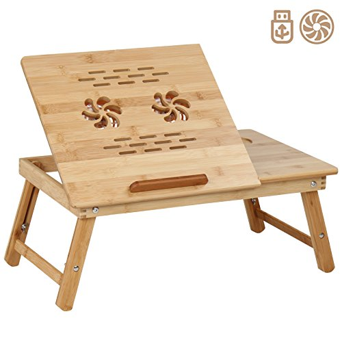 Bambus-fünf Schubladen (Miadomodo Betttisch Laptoptisch Betttablett aus Bambus in 5 Stufen einstellbar mit USB-Lüfter im Modell Ihrer Wahl)
