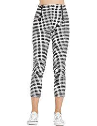 Rosegal Pantalon Femme Fluide Chic Elegant Slim Décontracté à Taille Haute  à imprimé Vichy Pantalon été b06301233c69