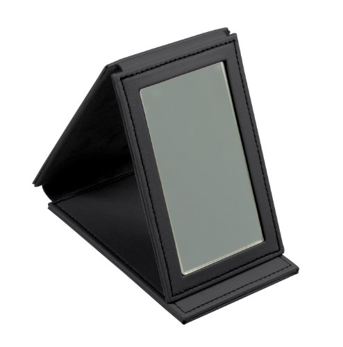 Lucrin Trousse à Maquillage Miroir Rectangulaire de Poche Cuir Vachette Lisse 11 cm Noir PM1095_VCLS_NRR
