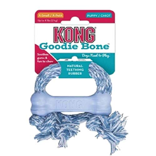 Kong Puppy Goodie Bone - XS mit Seil- Blau/Pink (sortiert) -