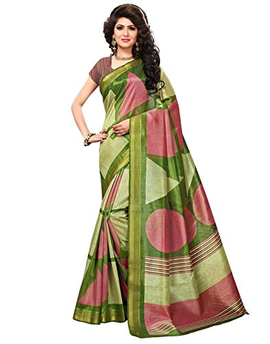 Art Decor Sarees Women's Green Color Bhagalpuri Silk Printed Saree With Blouse