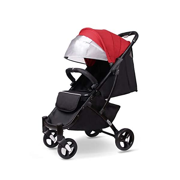 LETTAS Compact Fold Stroller Travel Lightweight Pram Buggy Pushchair Easy for Plane with Five-Point Harness Adjustable Backrest Oversize Hood. LETTAS ★ Fit kids 6 months up to 15kgs. Lightweight aluminum alloy frame design (weighs 5.9kg/13 pounds).Can be fold into a very small size. Easy for traveling and car trips. Convenient one-hand and self-standing fold are smooth when use for pack up and go. Passed the strictest EU safety standards: EN1888:2018 ★ Large extended foldable canopy for maximum sun coverage. A week-a-boo window, you can easily keep a watchful eye on your baby. Stay connected with your baby and no more worry while ensuring ventilation. Enlarge and easy to access storage basket holds all baby's necessities. Detachable cloth covers for easy cleaning. ★ Powder coating crafts. High quality material without pollutant. Handle is made of luxurious PU-leather. Small, light and practical. 5-point safety restraint system protects your child as your child grows. Armrest can be opened quickly in the middle. Detachable armrest offers safety guard and also allows baby easily in and out. 2
