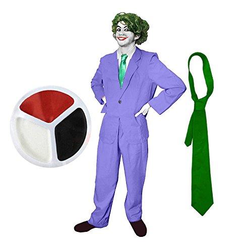 ILOVEFANCYDRESS GANOVEN-SCHURKEN KOSTÜME VERKLEIDUNG Fasching Karneval Comic Figur Joker VARIATIONEN=GRÜNE Krawatte + GRÜNE PERÜCKE + Make UP + Anzug -Large