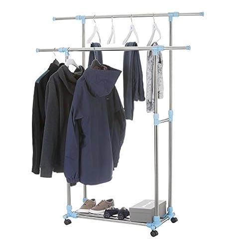 Rollbarer Kleiderständer Garderobenwagen Rollgarderobe Garderobe mit 2 Kleiderstangen