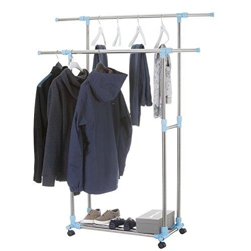 Rollbarer Kleiderständer Garderobenwagen Rollgarderobe Garderobe mit 2 Kleiderstangen höhenverstellbar