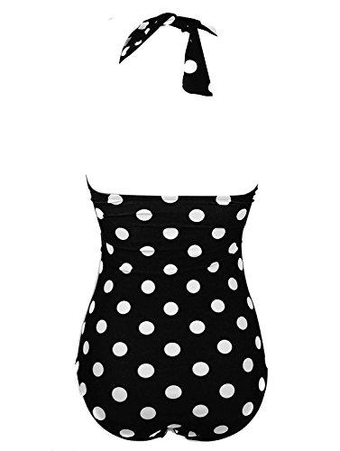 Damen Badeanzüge, Macochoi Klassische Badeanzüge einteilige Pin Up Halter Monokinis Badeanzug FBA Schwarz Punkt