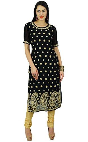 Bimba Frauen Gerade Georgette Kurta Schwarz Kurti Indischen Ethnischen Kleid (Kurta Georgette)