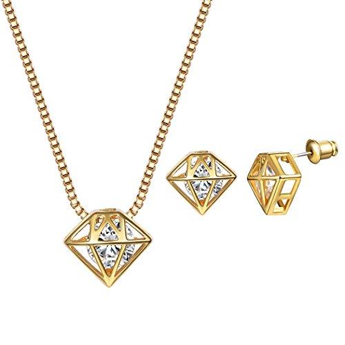 Suplight Damen Schmuck Diamant Symbol Design Anhänger Halskette Ohrringe Ohrstecker Set 18K Vergoldet Zirkonia Schmuck Set für Frauen und Mädchen, Gold