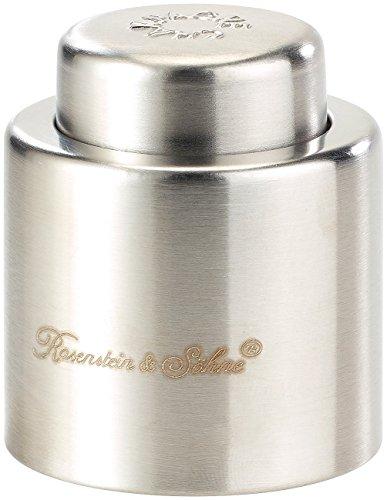 Rosenstein & Söhne Sektverschluss: Verschluss für Sekt-und Champagnerflaschen aus gebürstetem Stahl (Flaschenverschluss)