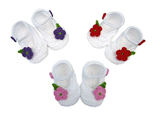 Söckchen Baby Merceditas handgefertigt 100% Baumwolle (Frühling, Sommer, Herbst) 9-12 meses beige dunkelviolett