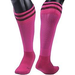 Clode® 1pair medias fútbol calcetines de los niños al aire libre 9-13 años fútbol calcetines (Rosa)