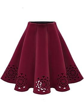 Mujer Midi Falda de Cintura Alta Elegante Plisada Faldas de Fiesta