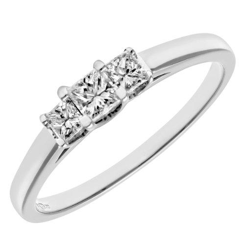 Naava Women's Platinum J/I Certified Princess Cut 0.33 ct Diamonds Trilogy Ring, Size K