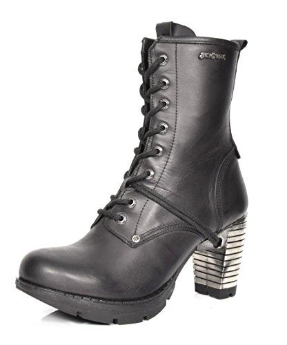 House of Luggage New Rock Femmes Intelligent Décontractée Cheville Bottes Noir Bout Rond Chaussures en Cuir Véritable