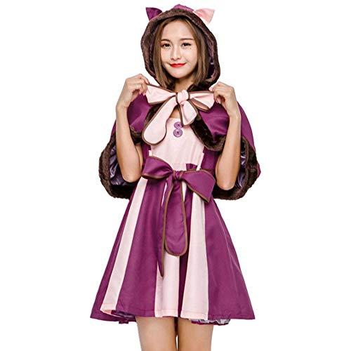 Kostüm Cat Pussy - AIYA Erwachsenes Halloween-Kostüm der purpurroten schmollenden Katze Cosplay Kostümlächelnden Katzenphantasie-Pussy