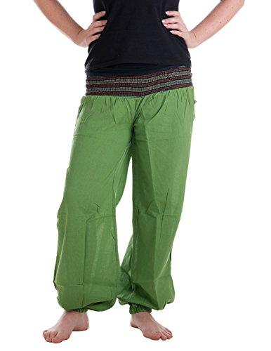 Vishes – Alternative Bekleidung – Sommer Chino Haremshose aus Baumwolle mit super elastischem Bund – handgewebt lindgrün Einheitsgröße 32 bis ()