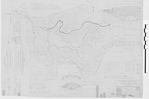 POSTER A3 Texas Park roads, including partial plan, large culverts, large culvert type for spans two ft to 10 ft, typical small culvert (plan and elevation), a typical section, a hillside section, road layout notes, overview of park with park roads and boundary lines.