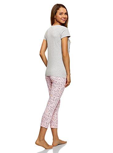 oodji Ultra Damen Pyjama aus Baumwolle mit Bedruckter Caprihose Grau (2040Z)