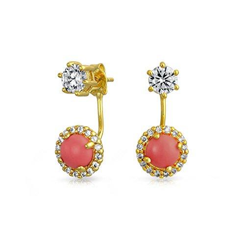 Rosa Pfirsich Orange Zirkonia Runde Halo CZ Abschlussball Ohr Jacke Ohrringe Für Damen 14K Vergoldet Messing (Halos Orangen)