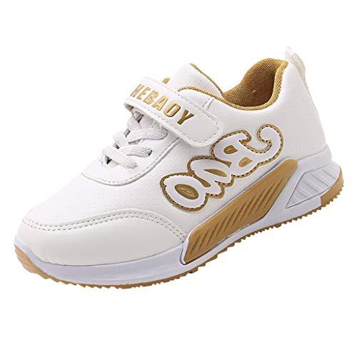 FNKDOR Schuhe Mädchen Herbst Laufschuhe Licht Atmungsaktiv Turnschuhe Outdoor rutschfest Kinderschuhe Mit Klettverschluss Und Schnürung Weiß 31 EU