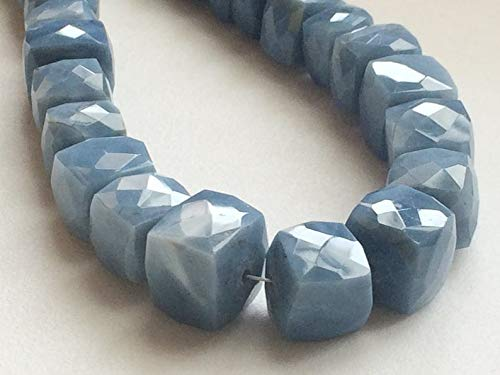 3.5 inch strand natural blue opal 7.5-12 mm box faceted beads for jewelry - blue opal beads, blue opal faceted box beads, blue opal cubes, opal necklace, 7.5-12mm, 3.5 inch, 17 pcs -