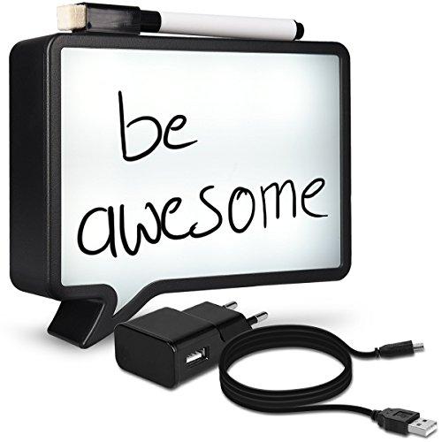 Navaris Caja de luz LED A6 - burbuja de chat escribible - con cable USB de 2m - caja de iluminación cinematográfica - Message Board con marcador