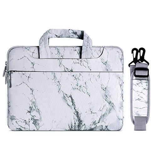 MOSISO Laptoptasche Kompatibel 15-15,6 Zoll MacBook Pro/Dell HP Acer Chromebook/Notebook/Ultrabook, Laptoptasche Segeltuch Gewebe Marmor Muster Umhängetasche mit Griff und Gurt, Weiß