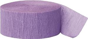 Unique Party- Serpentina de papel crepé para fiestas, Color lavanda, 24 cm (6330)