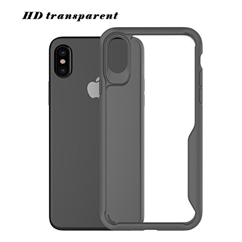 CaseforYou Hülle iphone X Schutz Gehäuse Hülse Ultra Thin Shockproof TPU Phone Back Case Cover Non-slip Full Body Protective Shell Schutzhülle für iphone X Handy (Black) Grey