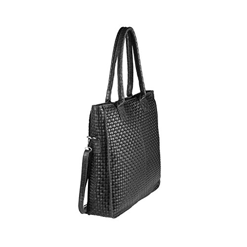 OBC Made in Italy DAMEN LEDER TASACHE DIN-A4 Shopper Schultertasche Henkeltasche Tote Bag Metallic Handtasche Umhängetasche Beuteltasche (Schwarz 36x40x12 cm) Schwarz
