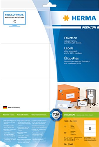 Preisvergleich Produktbild HERMA 8645 Universal Etiketten DIN A4 (105 x 74 mm,  10 Blatt,  Papier,  matt) selbstklebend,  bedruckbar,  permanent haftende Adressaufkleber,  80 Klebeetiketten,  weiß