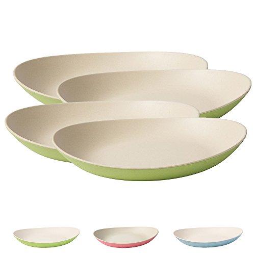 Ensemble d'assiette bambou de haute qualité Kaufdichgrün I Plat pour enfant, gâteau et service I Vaisselle bambou bio I 4 x assiettes ovales de mélamine naturelle blanc / vert 25 x 21 cm