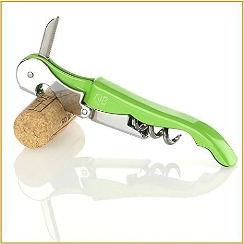 Naruba Premium Couteau sommelier 3en 1 à levier double Tire-bouchon Décapsuleur Coupe-capsule Plusieurs couleurs vert