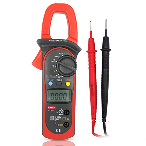 UNI-T UT203 Pinza Multímetro Amperimetrica Digital Profesional Clamp Meter AC DC para Medida Amperímetro Voltímetro Ohmímetro Automática Corriente Tensión Data Holding