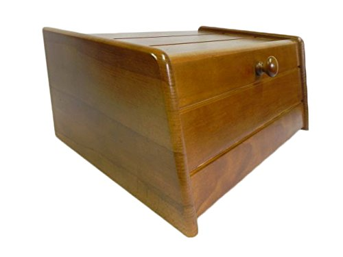 Panera de madera con puerta enrollable para guardar panes, tamaño...