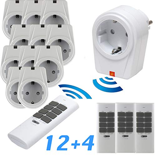 solidBASIC - Funk Schalter Steckdosen Set : 12 x Funksteckdosen + 4 x Fernbedienung | 4-Kanal Plug & Play Funkschalt-Set - WEIß